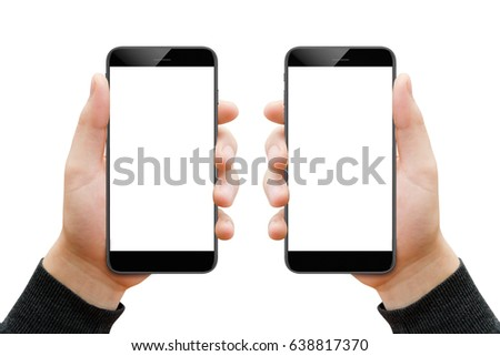 Two male hands with smartphones isolated on white background #638817370