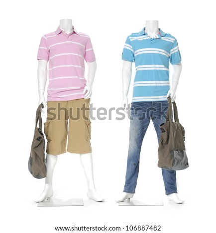 Two male mannequin dressed in t- shirt with bag