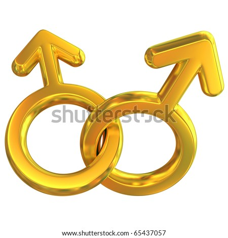 two male symbols crossed representing gay relationship, golden, isolated over white background, 3d concept