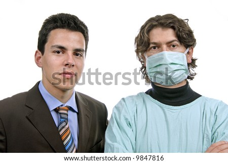 two male young doctors a over white background