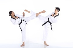 Two man and woman Master Black Belt TaeKwonDo Teacher show fighting session kick and punch, studio lighting white background. concept fight together