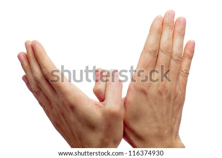 two man hands forming a dove of peace on a white background