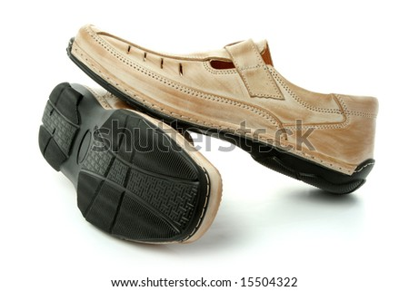Two man's leather shoes of brown color, isolated on white, (look similar images in my portfolio)