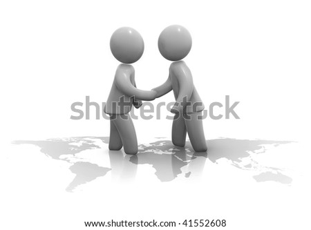 Two man shaking hands standing on map of world