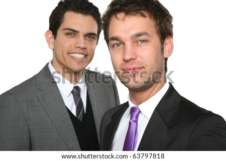 two man telefon and smiling