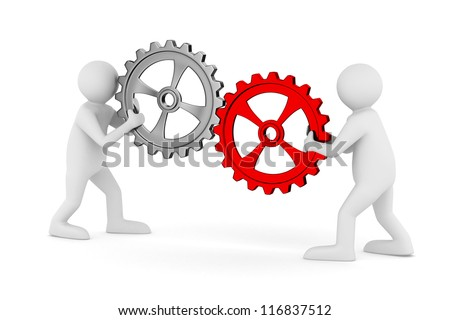 two man with gears. Isolated 3D image