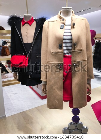 Two mannequins Dressed In Female man fashion Clothes, In Store