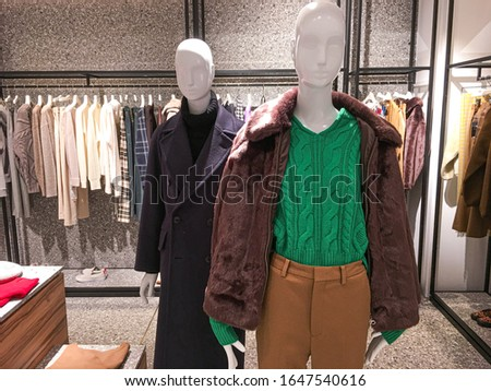 Two mannequins Dressed In ,woman Casual Clothes In Store