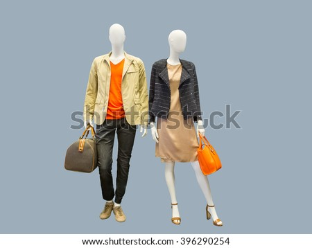 Shutterstock Two mannequins, male and female, dressed in casual clothes. Isolated on grey background