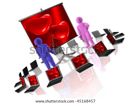 Two mans and hearts on the stand, white background.