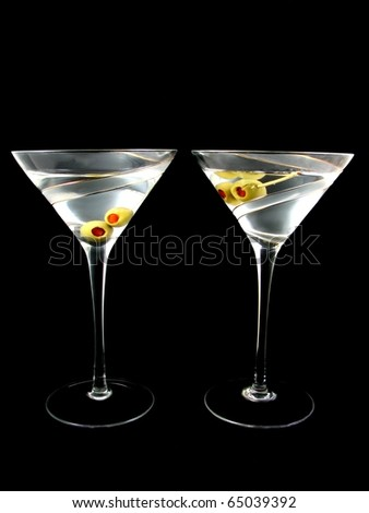 Two Martini's isolated on black background