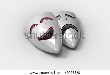 Two masks of grief and laughter on a white background