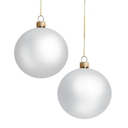 Two matte Christmas balls on white background