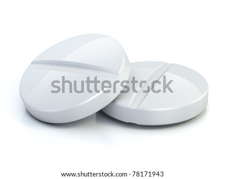 two medical pills - tablets 3d illustration isolated on the white