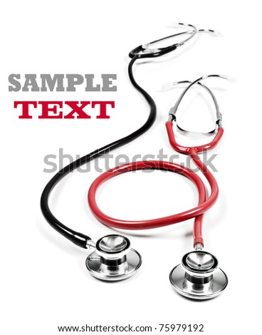 Two medical stethoscopes on a white background