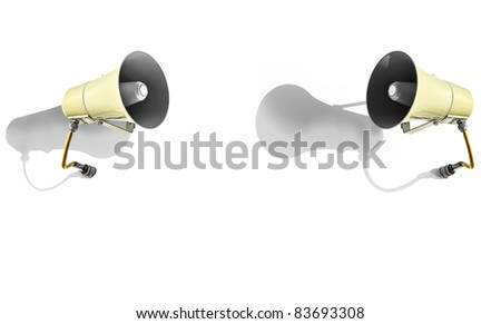 Two megaphones and shades isolated on a white background
