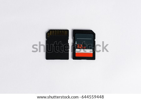 Two memory card on white background, Memory 32 GB.