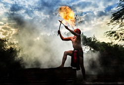 Two Men breathing fire, adventure amazing in thailand