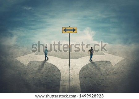 Two men change the common route going different roads. Split crossroad fork junction, people choose correct way. Signpost arrow shows left and right directions. Decision concept, failure or success.
