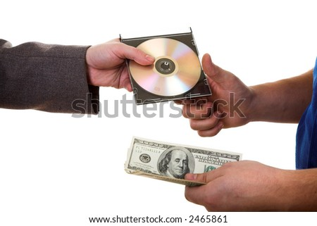 two men changing information on CD for money