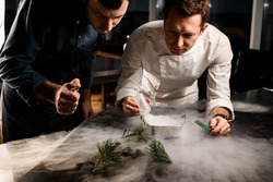 Two men chefs sprinkle on beautiful molecular cuisine dish decorated with pine branches in the smoke
