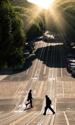Two men crossing the road - San Francisco, Hyde Street