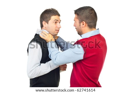 Two men fighting  in confrontation isolated on white background