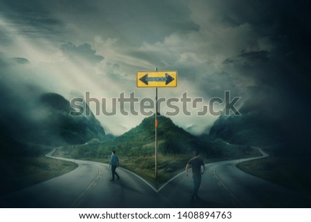 Two men going different roads as crossroad fork junction split in peculiar ways. People choosing correct path. Signpost arrow shows directions to left and right, failure or success, decision concept.