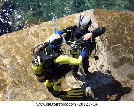 Scuba Diving Suit Men Two Men in Scuba Diving Suits