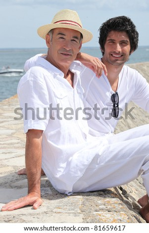 two men on a pier