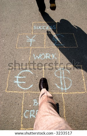 Two men playing a business hopscotch