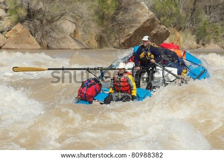 Two Men Rafting the Grand Canyon