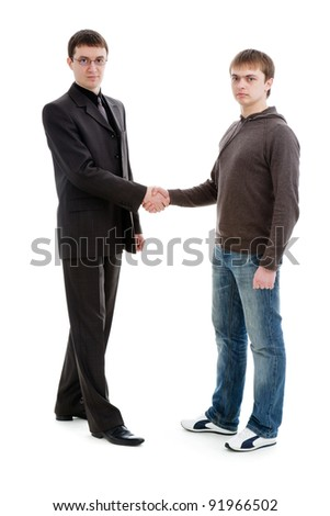 Two men shaking hands, isolated on a white background.