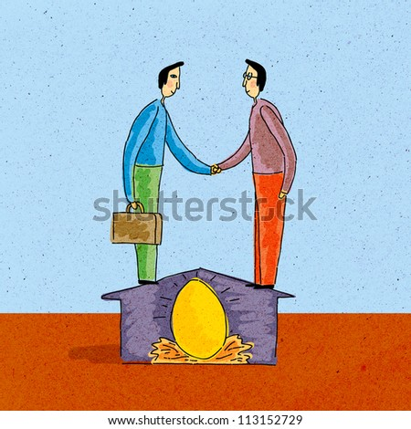 Two men shaking hands, standing on house, over nest egg