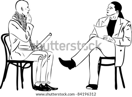 two men sitting reading something on a wooden chair - stock photo