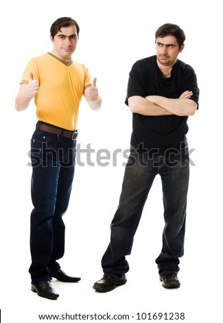 Two men with a happy and a sad on  white background.
