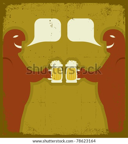 Two men with glasses of beer who toast.Raster