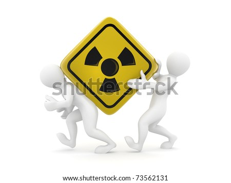 Two men with symbol of radiation. 3d