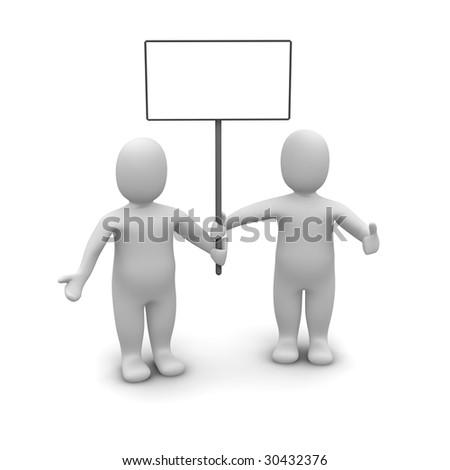 Two mens holding poster. 3d rendered illustration.