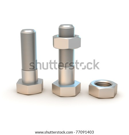 Two metal bolts and screws isolated