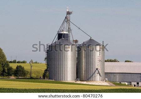 Two metal silos - stock photo
