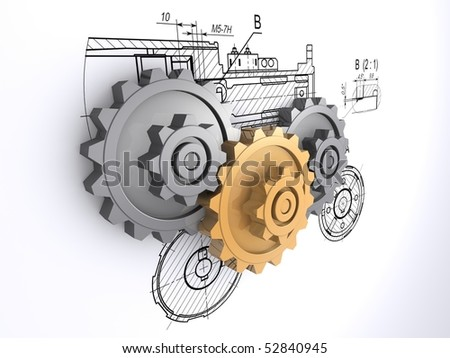 two metallic gray and one golden gears against a background of engineering drawings with shadow