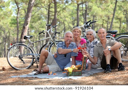 Two middle-aged couple having picnic