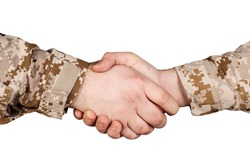 two military men shaking hands on white background
