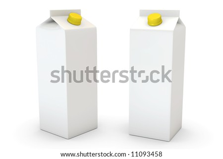 Two milk boxes isolated over a white background