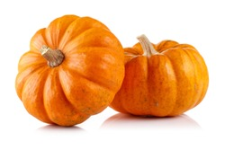 Two mini pumpkin isolated on white background