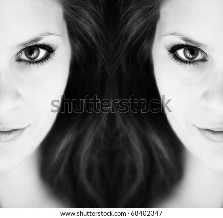 Two mirror views of half of one young womans face in black and white.