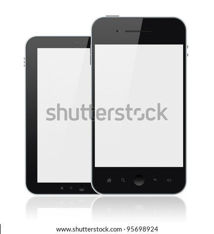 Two mobile smartphones with blank screen isolated on white. Include clipping path for phones and screens.