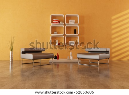 two modern armchair on concrete floor in a modern lounge