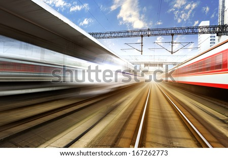 two modern high speed train with motion blur #167262773